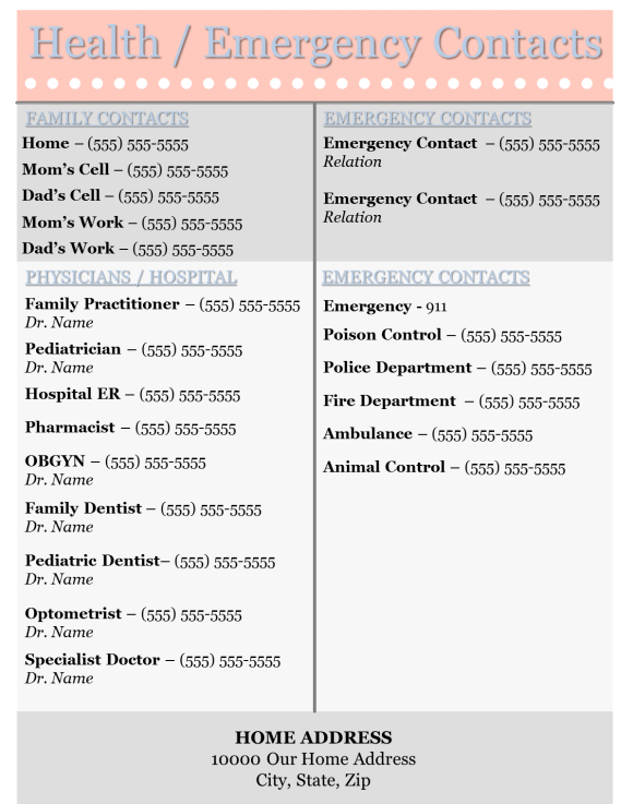 Health Emergency Contact List Template