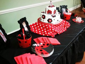 Red White Black And Polka Dots Make This Ladybug Cake Table Stand Out